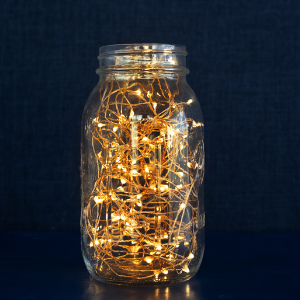 mason jar filled with twinkle lights